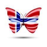 Papillon de drapeau de la Norvège Images libres de droits