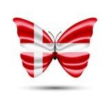 Papillon de drapeau du Danemark Images libres de droits