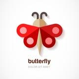 Papillon de papier rouge, calibre de logo de vecteur Icône plate abstraite d Images stock