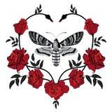 Papillon et roses illustration stock