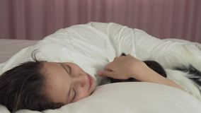 Papillon-Hund weckt jugendlich Mädchen im Bettvorrat-Gesamtlängenvideo auf stock video