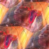 Papillon léger d'art, rouge, aquarelle jaune s de texture de fond Photo stock