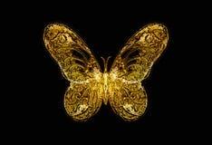 Papillon léger sur le collage noir de fond, de dessin et d'ordinateur illustration libre de droits