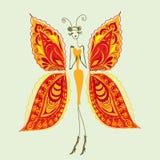 Papillon - la femme de la mode. Photo stock