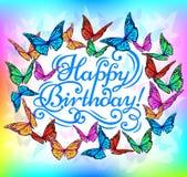 Papillon lumineux de bannière de joyeux anniversaire Image stock