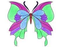 Papillon multi de couleur sur un fond blanc illustration libre de droits