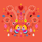 Papillon, nuages, fleurs, diamants, illustration de vecteur d'harmonie de nature de bande dessinée de gouttes de pluie Photo stock