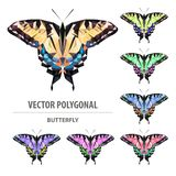 Papillon polygonal de couleur de vecteur Insecte de triangle illustration stock