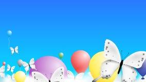 Papillon réaliste et Baloons coloré s'élevant au-dessus des nuages dans le ciel Fond moderne de vecteur Photos libres de droits