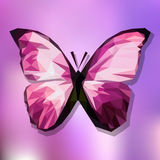 Papillon rose polygonal sur le fond de gradient Photographie stock