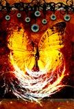 Papillon soutenu en feu illustration stock