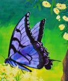 Papillon sur la peinture à l'huile de fleur sur la toile Photos stock