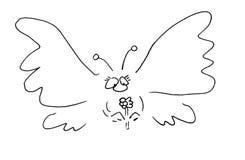 Papillon tenant une fleur Image libre de droits