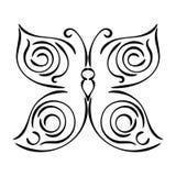 Papillon tiré par la main bouclé linéaire d'isolement sur le fond blanc Icône de papillon de croquis illustration stock