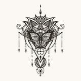 Papillon tiré par la main sur des fleurs de boho avec le symbole géométrique de la femelle et de l'astrologie pour le tatouage de Image stock