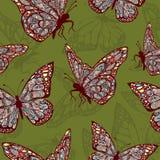 Papillons avec l'ornement oriental multicolore dans le boho de style, hippie Illustration Stock