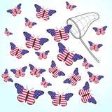 Papillons avec le drapeau des Etats-Unis et de l'épuisette Images stock