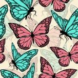 Papillons colorés avec le modèle sans couture d'ornement, dans le boho de style Illustration Stock