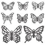 Papillons décoratifs de vecteur sur le fond blanc Photographie stock