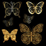 Papillons d'or réglés Photo stock