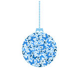 Papillons de bleu de boule d'arbre de Noël de vecteur Image stock