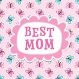 Papillons de maman de carte d'anniversaire de jour ou de mères les meilleurs Photographie stock libre de droits