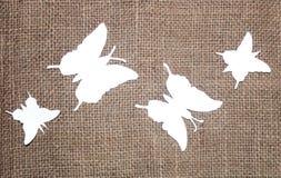 Papillons de papier avec le tissu de jute Photo libre de droits