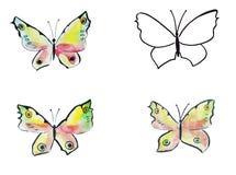 Papillons dessinés par croquis d'illustration Photo stock