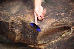 Papillons et doigt Photographie stock libre de droits