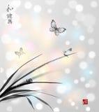 Papillons et petit escargot sur des feuilles de l'herbe h Image libre de droits
