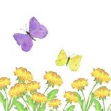 Papillons et pissenlits volants illustration de vecteur