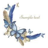 Papillons et plumes d'aquarelle Cadre rond, carte Photo stock