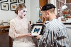 Papillons victoriens d'histoire d'amour dans l'estomac Images libres de droits