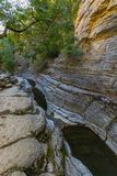 Papingo Rock Pools and overhanging tree branch in Epirus, Greece Stock Photos