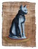 Papiro con el gato sagrado fotografía de archivo