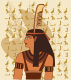 Papiro con gli elementi di storia antica egiziana Immagine Stock