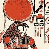 Papiro con gli elementi di storia antica egiziana Fotografia Stock
