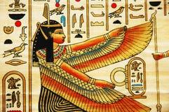 Papiro con los elementos de la historia antigua egipcia Fotografía de archivo libre de regalías