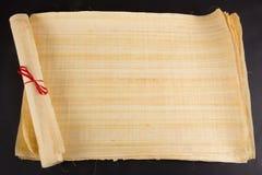 Papiro egipcio del espacio en blanco del rollo para el mensaje Imagenes de archivo