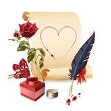 Papiro, rosa, crisol de la tinta y una pluma stock de ilustración
