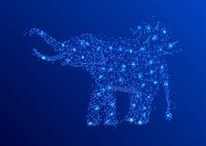Papiroflexia abstracta de la línea y del punto del puré del elefante en fondo azul con una inscripción Cielo o espacio estrellado Ilustración del Vector