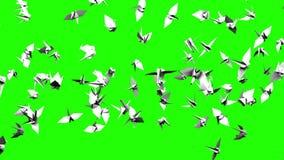 Papiroflexia Crane On Green Chroma Key stock de ilustración