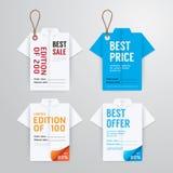 Papiroflexia de la camisa de la plantilla de la tarjeta de papel del precio de las banderas de la venta Fotografía de archivo libre de regalías