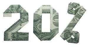 Papiroflexia del dinero muestra de la venta del 20 por ciento fotos de archivo