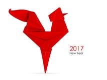 Papiroflexia roja del gallo Imagen de archivo libre de regalías