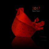 Papiroflexia roja del gallo Imagenes de archivo