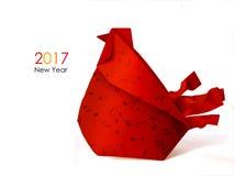 Papiroflexia roja del gallo Imagen de archivo