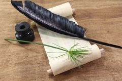Papirusowa ślimacznica z Papirusową rośliną Obrazy Royalty Free