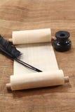 Papirusowa ślimacznica z inkwell Fotografia Stock