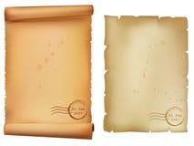 Papéis velhos manchados com selo Fotografia de Stock